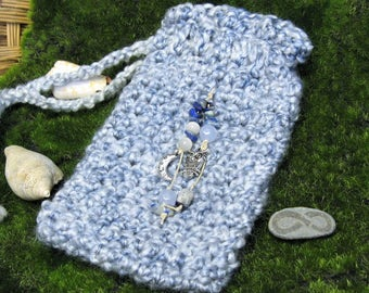 Pale Blue Moon and Owl Tarot Bag with Lapis Stone, Hand Crochet Tarot Bag, Witch's Bag, Festival Crochet Bag, Magic Bag, Tarot Pouch