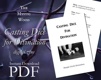 Digital Zine - Casting Dice for Divination - Simple Circle Casting Method, Dice Divination Zine, Astragalomancy, Die Casting