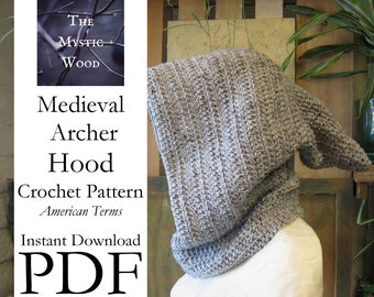Medieval Archer Hood Crochet Pattern - Instant Download PDF File - American Terms