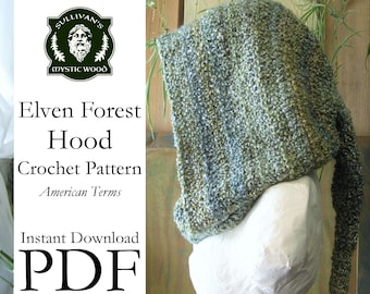 Elven Forest Hood Crochet Pattern - Instant Download PDF File - American Terms