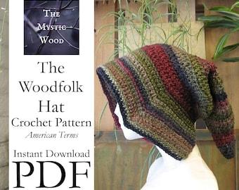 Woodfolk Hat Crochet Pattern - Instant Download PDF File - American Terms