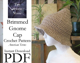 Brimmed Gnome Cap Crochet Pattern - Instant Download PDF File - American Terms
