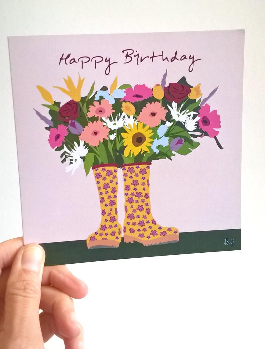 Birthday card happy birthday greeting card flowers etsy 50 izmirmasajfo