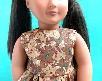 Sparkling Gingerbread Man dress for 18 inch dolls