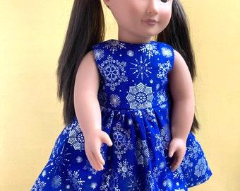Metallic snowflake dress for 18 inch dolls