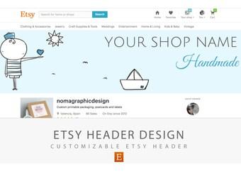 Custom Etsy shop banner or header, Branding design kit, Custom branding design, Etsy shop header, Etsy shop banner, Shop branding,  Digital