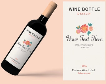 Custom Wine label, Customizable wine labels, Printable wine labels, Wedding milestone wine labels, Bridesmaid gift, Wine bottle label tags