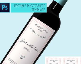 Wine label template, Wine label custom, Customizable wine label, Photoshop wine label, Wine label bridesmaid, Wine label birthday wedding