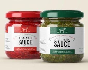 Food packaging label for jar sauces, Custom Hot sauces sticker or label template,Spice jar label, Pasta sauce label design, Sauce labels