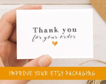 Etsy thank you card, Thank you for your order card, Thank you for your order printable, Thank you for your purchase stickers, Etsy packaging