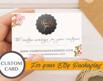 Custom Etsy thank you card, Personalized Thank you for your order card, Thank you for your order printable, Thank you for your purchase