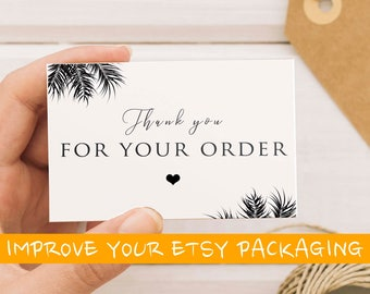 Thank you for your order card,Etsy thank you card,  Thank you for your order printable, Thank you for your purchase card, Etsy packaging
