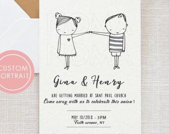 Custom portrait Wedding Invitation, Printable  wedding invitation, Wedding Invitation template, Original Wedding Invite,Printable invitation