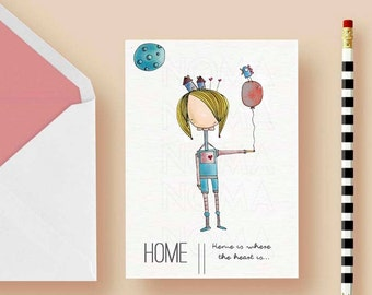 Home is where the heart is printable postcard , Love gift, Home postcards, Printable postcard, Friendship gift postcard, Friendships