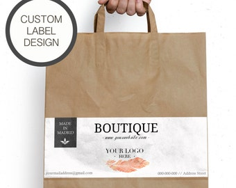 Printable custom brand label for shops and paper bag,  Brand stickers, Label for paper bag, Label sticker template, Personalized paper bags