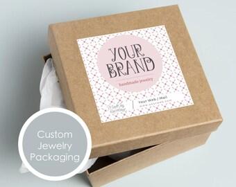 Custom jewelry packaging, Custom jewelry label, Custom jewelry packaging, Custom printable jewelry sticker, Jewelry box personalized