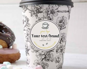 Custom labels for coffee cup packaging, Coffee cup label, Coffee cup sleeve printable sticker, Printable coffee packaging, Printable sticker