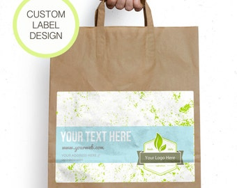 Printable custom brand label for box or paper bag,  Brand stickers, Label for paper bag, Label sticker template, Personalized paper bags