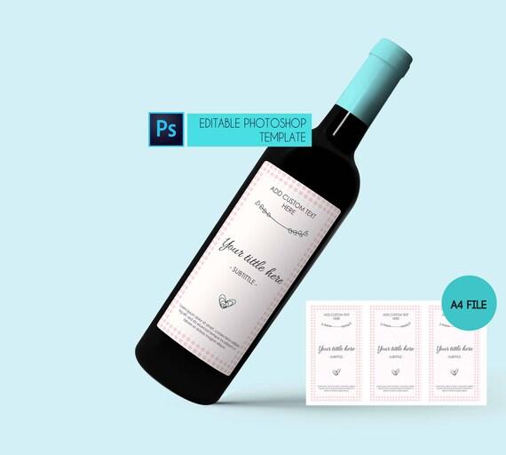 Wein Etikettenvorlage individuelle anpassbare Etikett Wein | Etsy