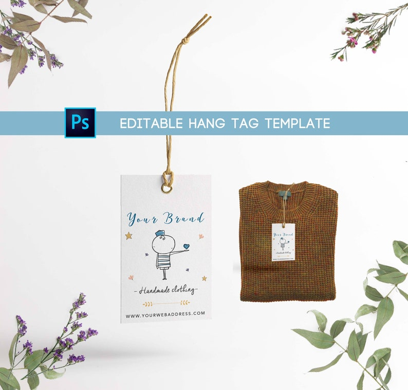 image regarding Clothing Tags Printable named Editable outfits tag for design and style model. Printable and editable photoshop hold tag.