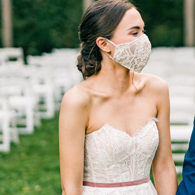Wedding Face Mask Lace With Filter Pocket Washable and Reusable