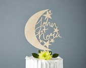 Woden Cake Topper Custom Wedding - Moon and Stars Wedding Cake Topper - Wooden Cake Topper  Hand Lettered