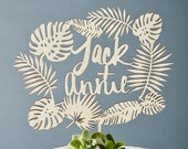 Custom Tropical Wedding Cake Topper - Monstera Cake Topper - Wooden Personalized Names - Lasercut Birch Wedding Decor
