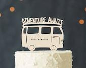 Custom Lasercut Wood Destination Wedding Camper Cake Topper - Travel, Adventure, Road Trip - Adventure Awaits