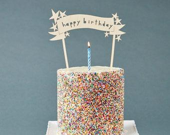 Birthday Cake Topper - Customize Cake Topper Stars - Wooden Wedding Cake Topper Birthday Celebration