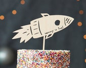 Space Themed Custom Lasercut Wood Rocket Ship Birthday Cake Topper