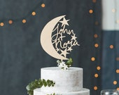 Moon and Stars Wooden Cake Topper - Written in the Stars or Customizable - Hand Lettered Wedding Cake Topper