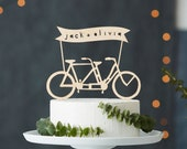 Custom Wedding Cake Topper - Tandem Bike Wedding Cake Topper - Bicycle Cake Topper - Birch Lasercut Cake Topper