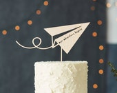 Cake Topper Wedding - Paper Airplane Travel Adventure Cake Topper - Wooden Baby Shower Cake Topper - Engagement party Our Adventure Begins
