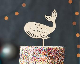 Custom Lasercut Wood Whale Baby Birthday Cake Topper