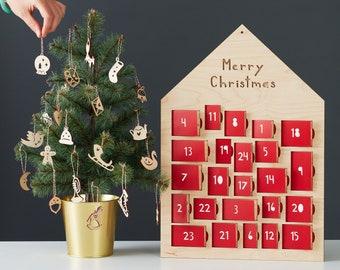 Ornament Advent Calendar- Lasercut Birch Wood and Paper (24 ornaments)