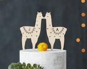 Llama Customizable Wooden Cake Topper - Lasercut Birch Wedding Cake Topper