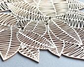 Lasercut Wooden Artwork - Rubber Leaves