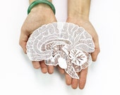 Anatomical Brain Laser-Cut Papercutting Artwork