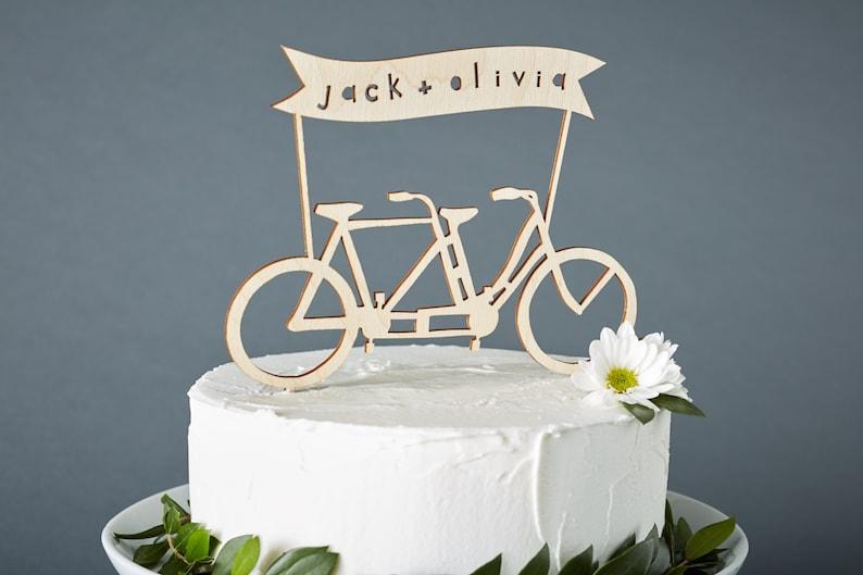 Custom Wedding Cake Topper  Tandem Bike Wedding Cake Topper  image 0