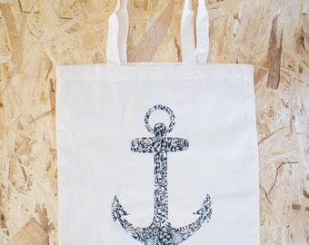 Floral Anchor Tote Bag