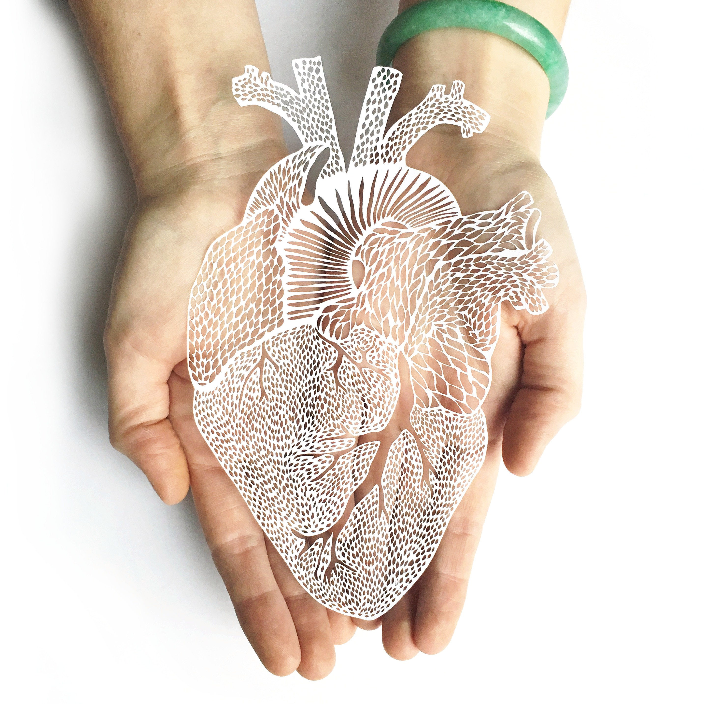 Anatomisches Herz Laser-Cut Papierschnitt Kunstwerk