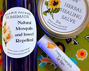 Summer Essentials Set All Natural Mosquito Repellent, Herbal Salve, Lip Balm..Insect Repellent Gift for Men, Gift for women, Gift for Hikers