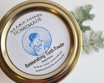 Fresh Mint~Herbal~ All Natural Remineralizing Tooth Powder ~Remineralizing Toothpaste~ Detoxify..W/Bentonite Clay Peppermint