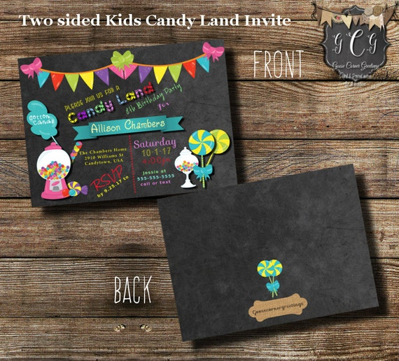 Printable Candy Party Invitation Candy Birthday Party Invitations