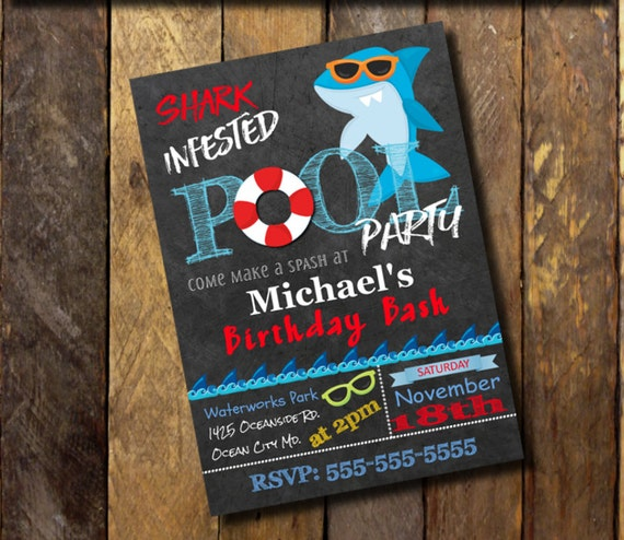 shark invitation printable shark birthday invitation pool party