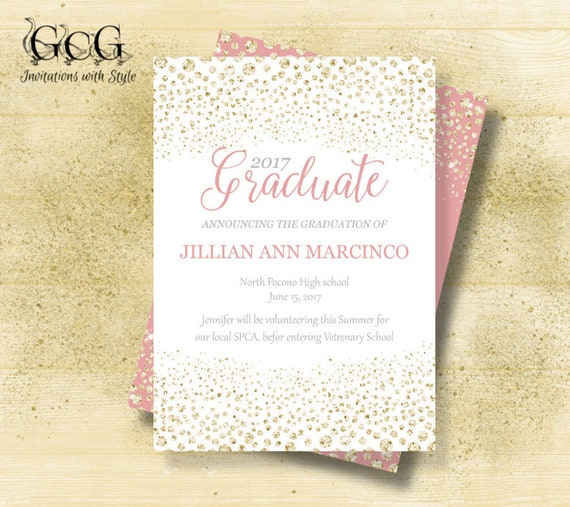 Graduation invitations pink and gold graduation invitations etsy image 0 filmwisefo