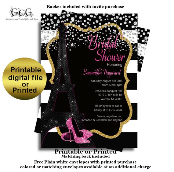Kate Spade Bridal Shower Invitations Paris Bridal Shower Eiffel