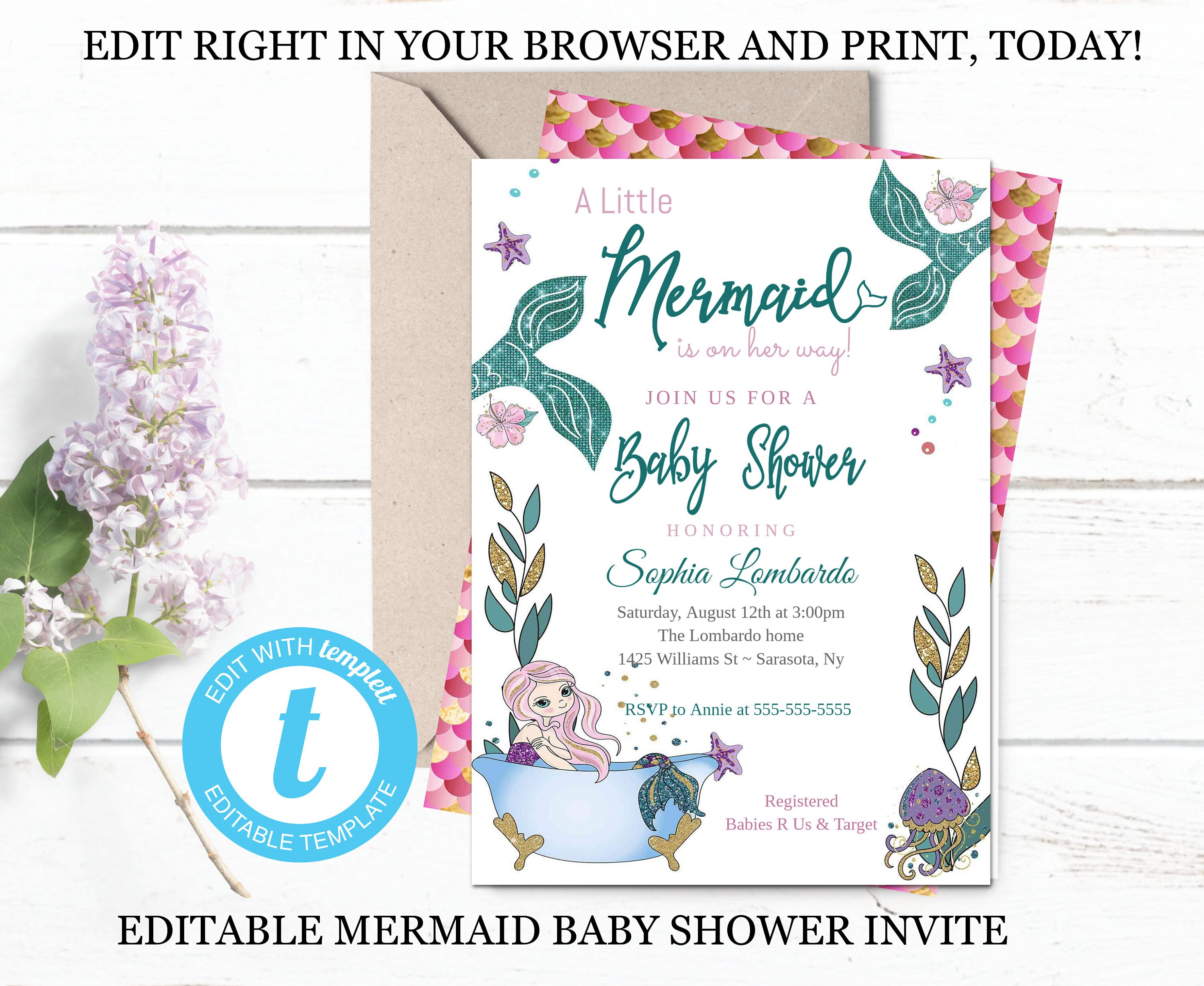 Mermaid Baby Shower Invitation Template Glitter Mermaid Invite Etsy