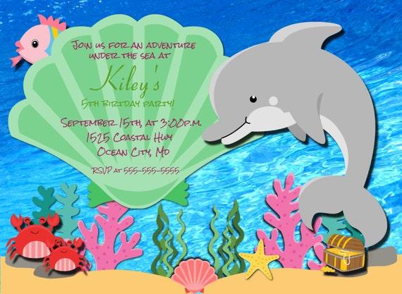 Dolphin Birthday Invitation Printable Under The Sea Photo