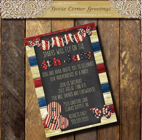 barnwood american flag invitation vintage chalkboard stars